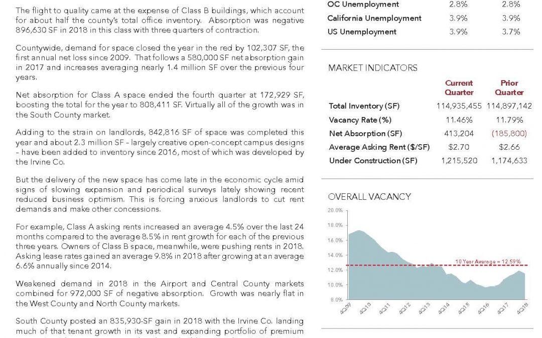 Orange County – Fourth Quarter 2018 Office Market Report